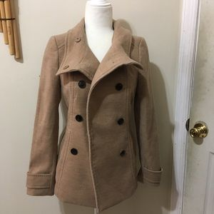 H&M Womens Beige Tan Taupe Double Breasted Peacoat